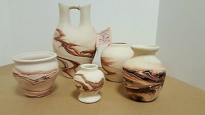 Nemadji Pottery USA Double Wedding Vase Cream Lavender Purple Indian River