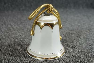 """Vintage Felicity Designs 1979 Edition Collector Christmas Bell 2 1/2"""" Gold Trim"""