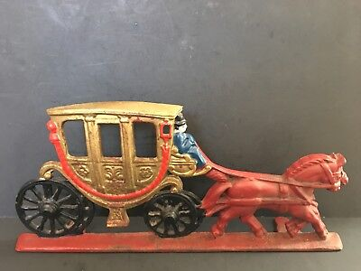 """Vtg/ant Cast Iron Gold Painted Royal-Type Carriage With Horses Door Stop, """"cn"""""""