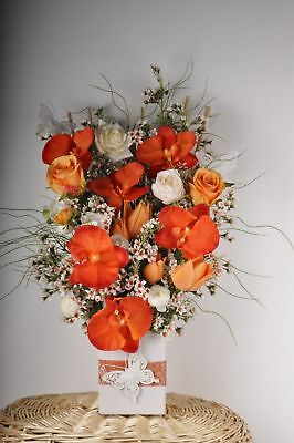 NEW Orange Cream Orchid Butterfly Rose Artificial Arrangement Flower Floral