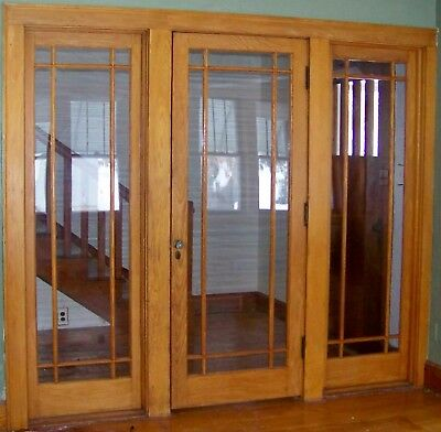 Antique Oak Entry Door with 2 sides windows from the 1940's solid oak
