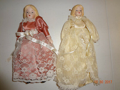 Lot of 2 Vintage Victorian Style Porcelain Doll Christmas Tree Ornaments
