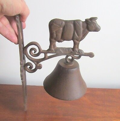 Vintage Large  Cast Iron Farm Bell with Milking Cow & Bell With Wall Bracket