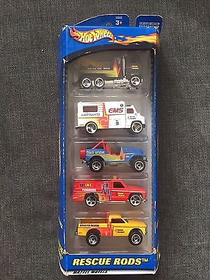 2000 Mattel Hot Wheels  Gift Pack -5  Die Cast Metal Cars / Rescue Rods*NEW*