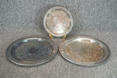 "2 x 12.5"" And 1 x 8"" Silver Plated Round Serving Trays"