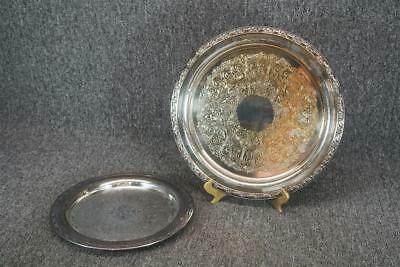 "10.25"" And 12.5"" Wide Silver Plated Serving Trays Vintage"