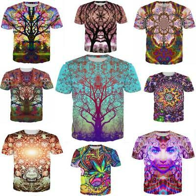 Women/men Psychedelic trees 3D print Short Sleeve Casual tops T-Shirts S-5XL H1