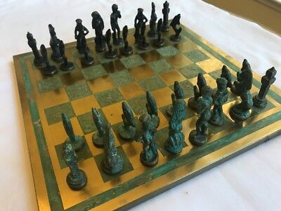 Antique Chess Set  Copper/Brass Board And Pieces.