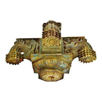 Antique Indonesian Hand Carved Wood Column Capital