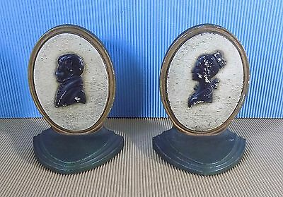 Antique Pair Bradley and Hubbard Cast Iron Silhouette Bookends. RARE