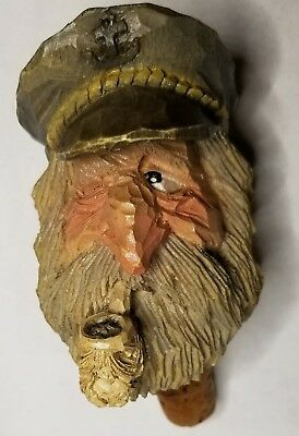 Vintage Spit & Whittle Chris Hammack Carved Bottle Stopper Cork Sea Captain