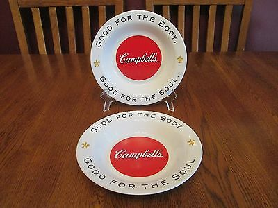 Great Pair Arcopal Campbell's Soup Shallow Rimmed Bowls Good For The Body & Soul