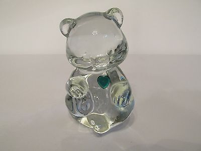 Beautiful Fenton Clear Glass May Birthday Bear ~ Emerald Green Heart