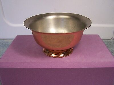"""VINTAGE SMALL FOOTED COPPER CLAD BOWL 2.25"""" TALL x 4.75"""" WIDE RIM"""