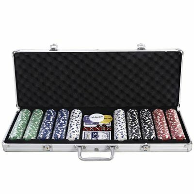 Portable 500 Chips Poker Dice Chip Set Texas Hold'em With Aluminum Case