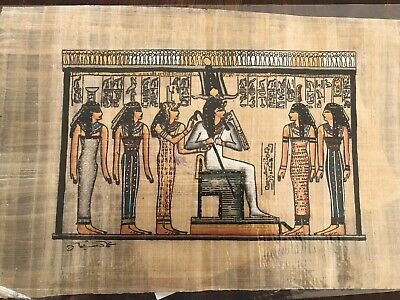 Antique Egyptian Papyrus Handmade Colorful Piece