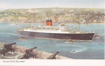 Cunard R.M.S. CARINTHIA Levis from Quebec City Art Postcard Signed C.E. Turner