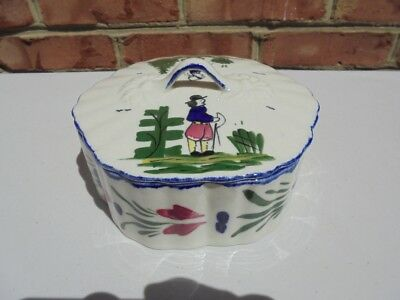 Vintage Blue Ridge Pottery Peasant Pattern Covered Candy Box