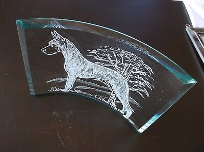 Great Dane- [Fawn] Hand engraved Freestanding Curved Bevel by Ingrid Jonsson