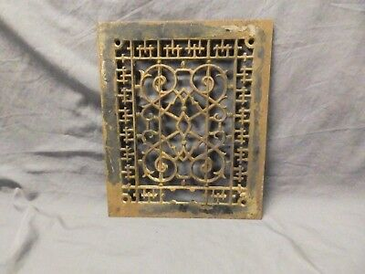 Antique Cast Iron Grill Floor Vent Heat Grate Victorian Old Vtg 12x10 686-17P