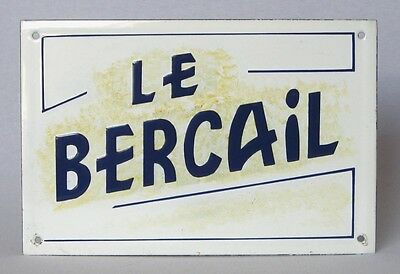 Antique Vintage French Cast Iron & Enamel Sign ~ Le Bercail ~ the Family House