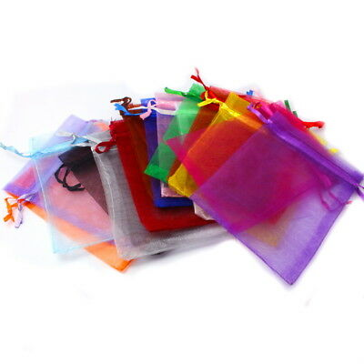 7x9cm/9x12cm 50pcs Jewelry Packaging Drawable Organza Gift Bags Pouches