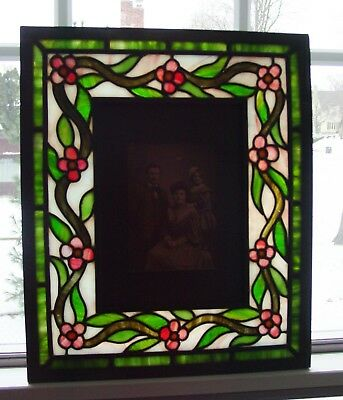 Antique Unusual stain glass Arts & Crafts picture frame or mirror----15449