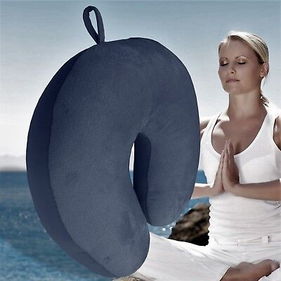Navy Blue U Shaped Travel Pillow Neck Support Head Rest Airplane Sleep Cushion