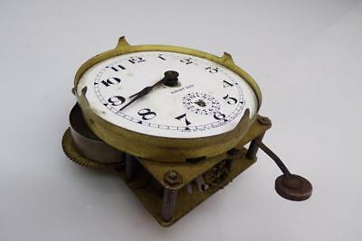 Vintage  E. Ingraham Brass Mantle Alarm Clock Movement Porcelain Dial  E296c