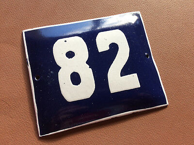 ANTIQUE VINTAGE FRENCH ENAMEL SIGN HOUSE NUMBER 82 DOOR GATE BLUE 1950's