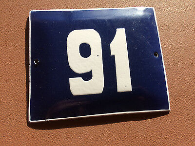 ANTIQUE VINTAGE FRENCH ENAMEL SIGN HOUSE NUMBER 91 DOOR GATE BLUE 1950's
