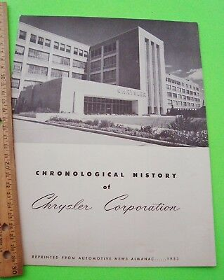 Orig'l 1954 CHRONOLOGICAL HISTORY OF CHRYSLER CORPORATION 1925 to 1954 Xlnt