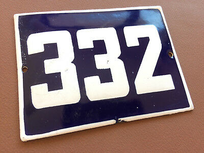 ANTIQUE VINTAGE FRENCH ENAMEL SIGN HOUSE NUMBER 332 DOOR GATE BLUE 1950's