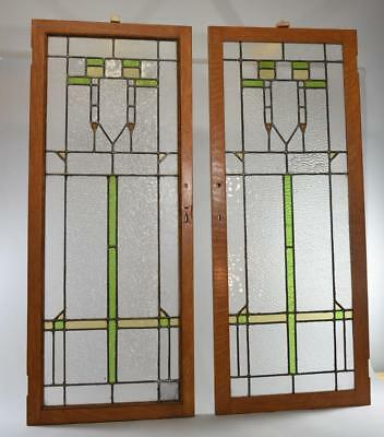 Antique Pair Of Arts & Crafts Leaded Slag Glass Rippled Cabinet Door Windows