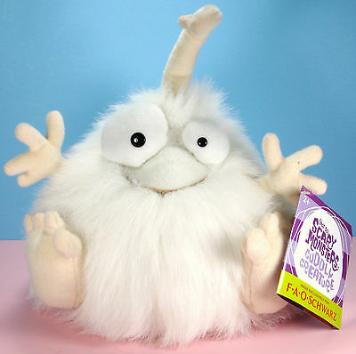 FAO Schwarz NOT SO SCARY MONSTERS Bobba Bouncy White Furry Plush Doll Toy - NEW