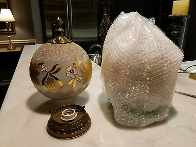 Antique Vintage Art Deco/Nouveau Ceiling Light Fixture Globe Gold pair