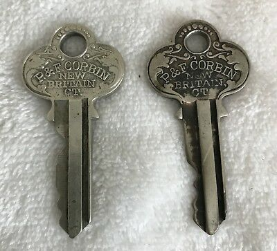 P & F Corbin Antique Keys (2) Vintage Ornate Decorative New Britain CT Steampunk