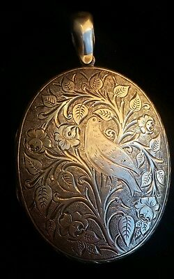 Antique Victorian Sterling Silver Large Locket Aesthetic  Movement Jewellery