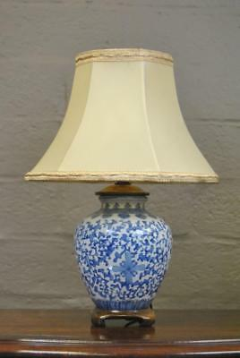 Asian Chinoiserie Ginger Jar Ceramic Blue And White Table Lamp