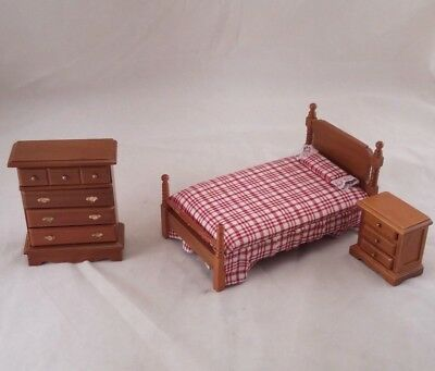 Bedroom Bed Set dollhouse miniature furniture 3pc T0506 1/12 scale wooden walnut