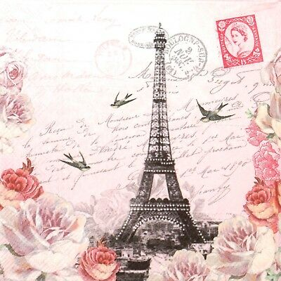 4x Paper Napkins for Decoupage Decopatch Craft Letter to Paris