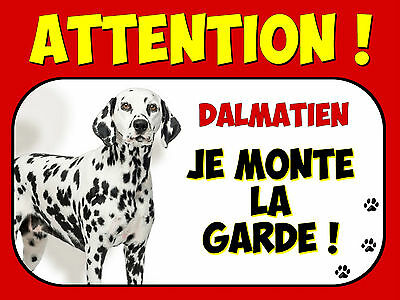 Plaque en aluminium Attention au chien Dalmatien