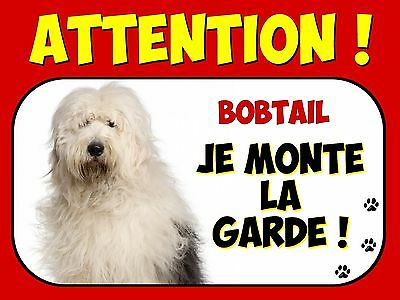 Plaque en aluminium Attention au chien Bobtail