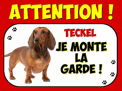 Plaque en aluminium Attention au chien Teckel