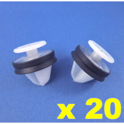 Citroen Peugeot Door Panel Card Pillar Clips White Plastic With Rubber Seal X 20