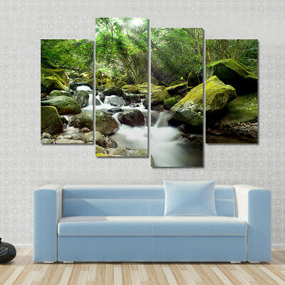 Landscape Forest Canvas Print Modern Trees Stone River Green Wall Art Decor 4 P