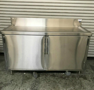 "60"" Drink Beverage Table Cabinet with Drains Stainless Steel Cal Spec #7417 NSF"