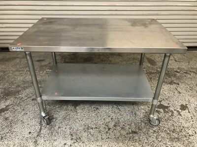 "48"" x 30"" Stainless Steel Work Table w/ Bottom Shelf on Wheels #7610 Commercial"
