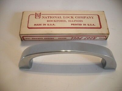 Vintage NOS Bright CHROME Plated BRASS Drawer Pulls Cabinet Handle National Lock