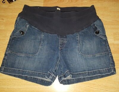 Old Navy maternity L large jean shorts full panel belly elastic waist